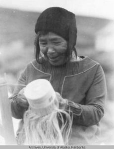 An Attu Elder weaving a basket. Source: UAF, Murie Family Papers (3)